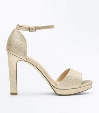 New Look Gold Glitter Comfort Platform Block Heel Sandals