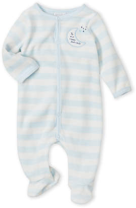 Absorba Newborn Boys) Blue Stripe Velour Footie