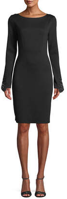Elie Tahari Azura Boat-Neck Long-Sleeve Ponte Sheath Dress w/ Lace Cuffs
