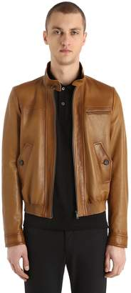 Prada Waxed Light Nappa Leather Bomber Jacket