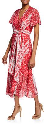 Tanya Taylor New Blaire Floral-Print Short-Sleeve Wrap Dress