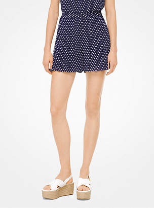 Michael Kors Dot Georgette Pleated Shorts