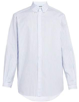 Gucci - Striped Cotton Button Down Shirt - Mens - Blue
