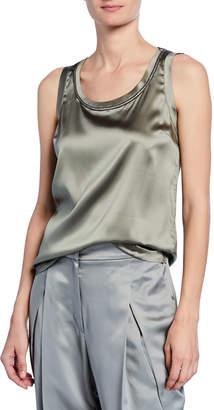 Brunello Cucinelli Silk Scoop-Neck Sleeveless Shirt