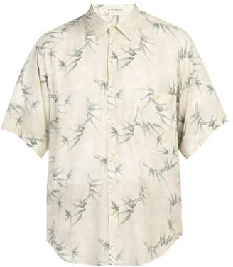 Etro Oversized Bamboo Print Short Sleeved Shirt - Mens - Beige