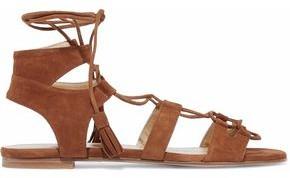 Stuart Weitzman Roman Lace-Up Suede Sandals