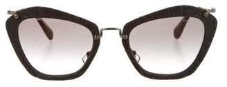 Miu Miu Noir Textured Sunglasses w/ Tags