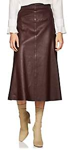 Boon The Shop Women's Leather A-Line Midi-Skirt - Wine