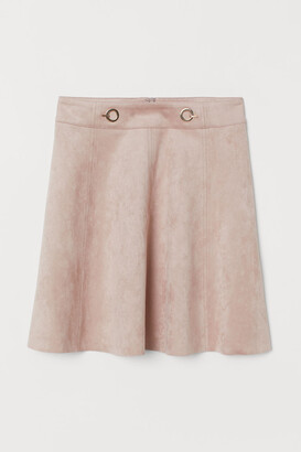 H&M Short Faux Suede Skirt - Pink