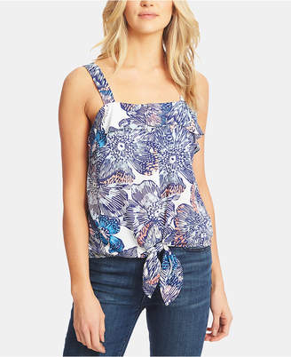 1 STATE 1.state Tie Front Ruffle Tank Top