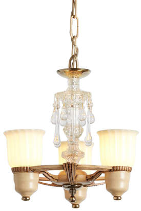 Rejuvenation Three-Light Cup Shade Chandelier w/ Glass Crystal Column