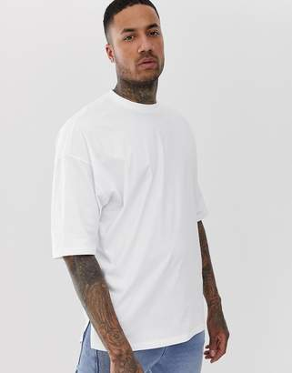 Asos Design DESIGN oversized t-shirt with side split in white