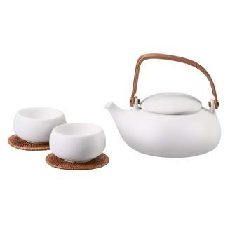 Zens Lifestyle - Ceramic Teapot With 2 Cups White