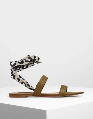 Charles & Keith Leopard Print Ankle Wrap Sandals