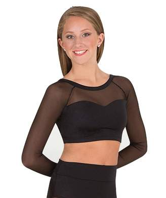 a48704e767 Body Wrappers Adult Long Sleeve X-Back Dance Crop Top NL9020WHTS