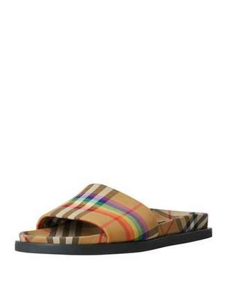 Burberry Ashmore Low-Top Rainbow Check Slide Sandal