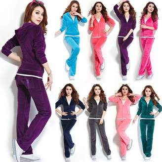 Wind of Spring SPRINGWIND Women's Velour Hoodie+Pant Tracksuit Sport Sweat Suit Set S