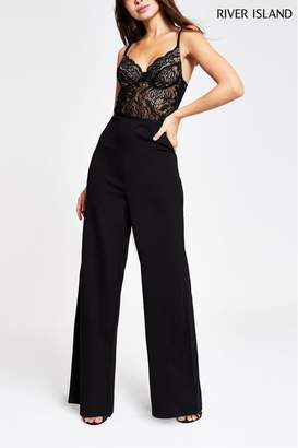 River Island Womens Black Wax Corset Lace Jumpsuit - Black