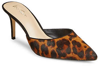 424 Fifth Ray Leopard Heeled Mules