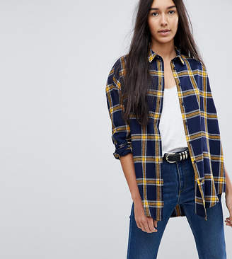 Discount Amazon Navy Bleached Plaid Oversized Shirt Pretty Little Thing Free Shipping Professional Websites Sale Online aD4iEXnf