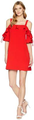 Laundry by Shelli Segal Crepe T Body Dress with Lace-Up Sleeves Women's Dress
