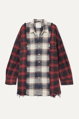 R 13 Oversized Frayed Checked Cotton-flannel Shirt - Red