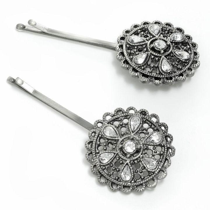 Apt. 9 2-pc. jeweled floral medallion bobby pin set