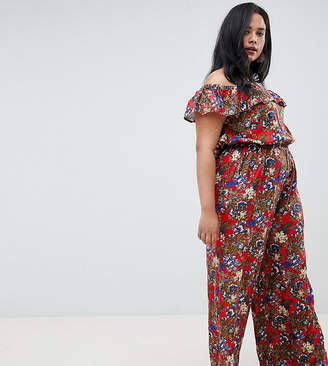 Bardot Nvme Floral Jumpsuit With Frill Detail