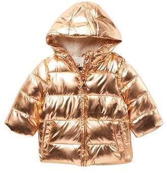 Tahari Foil Puffer Faux Fur Jacket (Baby Girls)