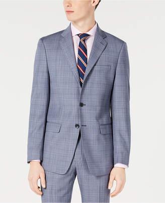 Calvin Klein Men X-Fit Slim-Fit Natural Stretch Blue Plaid Suit Jacket