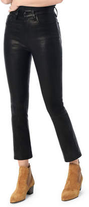 Joe's Jeans The Cropped Skinny Boot-Cut Leather Jeans