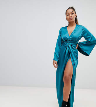 Missguided Petite satin twist maxi dress in teal