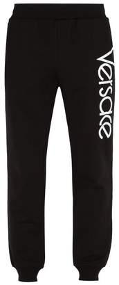 Versace Logo Print Tapered Leg Track Pants - Mens - Black