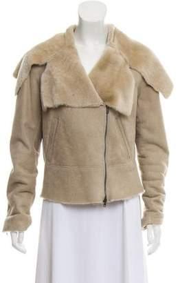 Donna Karan Long Sleeve Shearling Jacket