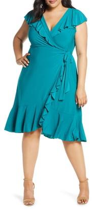 Kiyonna Phoebe Flounce Wrap Dress