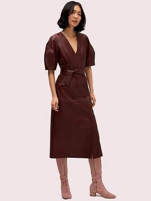 Kate Spade Leather Tie Waist Dress, Cherrywood - Size 00