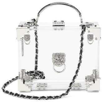 Aspinal of London Lion Mini Trunk Clutch In Transparent Acrylic With Silver Hardware