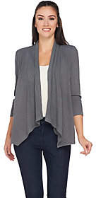 Joan Rivers Classics Collection Joan Rivers Drape Front Ribbed Knit Cardigan