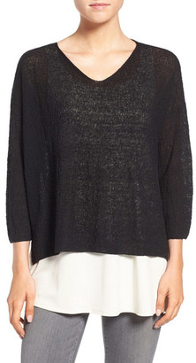 Eileen Fisher Lightweight Organic Linen Knit V-Neck Top $158 thestylecure.com