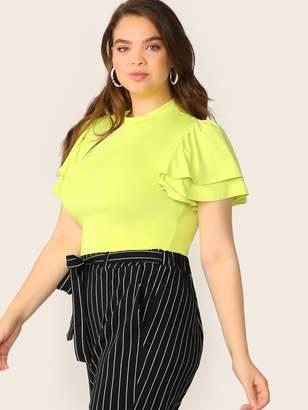 Shein Plus Layered Flutter Sleeve Neon Yellow Tee