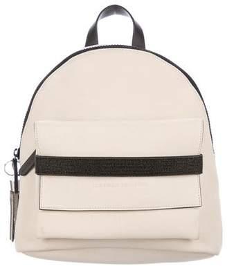Brunello Cucinelli Monili-Trimmed Nubuck Backpack