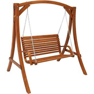 Loon Peak Gallichan 2 Person Wooden Porch Swing with Stand