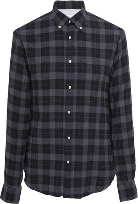 Officine Generale Japanese Dark Plaid Button-Down Shirt