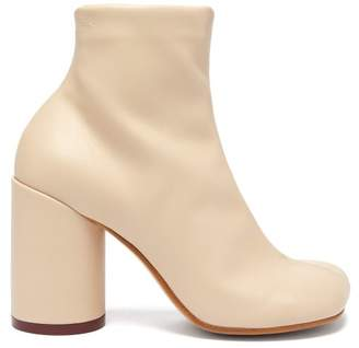 MM6 MAISON MARGIELA Square Toe Leather Ankle Boots - Womens - Beige