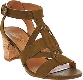 Franco Sarto Leather Multi-strap Sandals w/ Cork Heel - Paloma $33.73 thestylecure.com