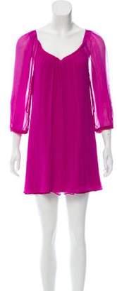 Diane von Furstenberg Silk Long Sleeve Mini Dress