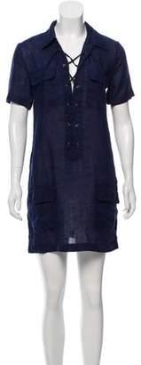 Equipment Linen Lace-Up Mini Dress