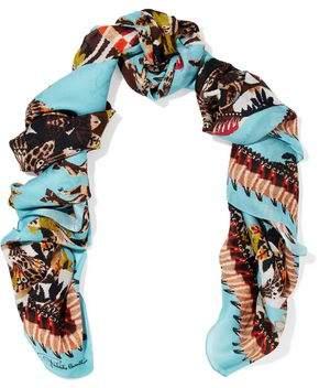 Roberto Cavalli Printed Silk-Jacquard Scarf