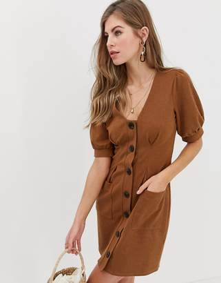 Asos Design DESIGN puff sleeve textured dress with faux horn buttons