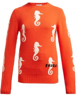 Prada Seahorse Intarsia Wool Blend Sweater - Womens - Orange Multi